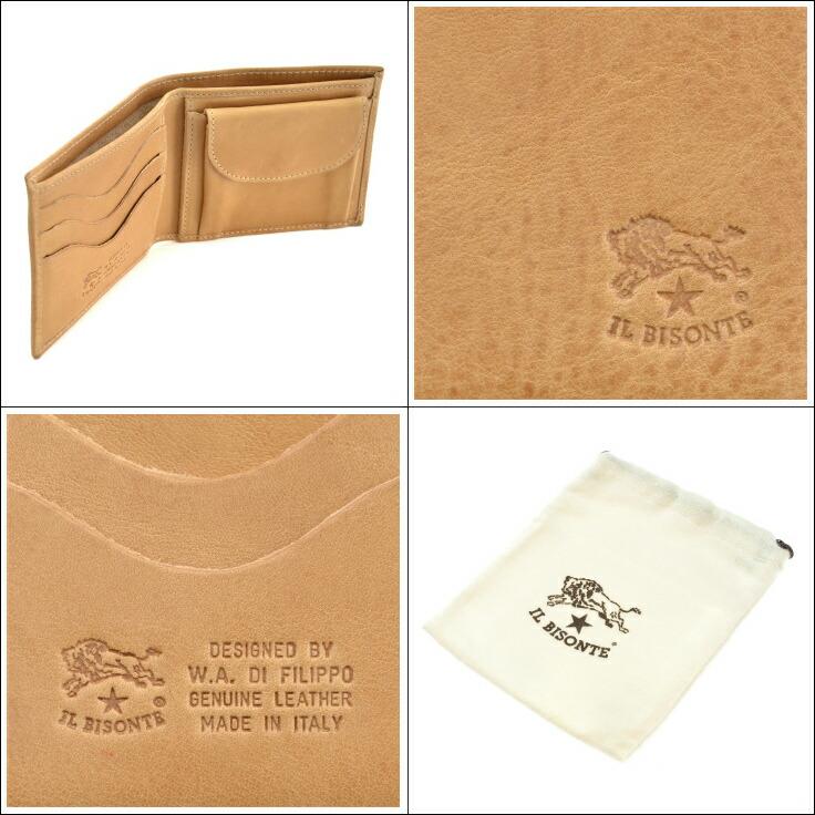 5bff55fc5d6e コメント丁寧になめされた良質なバケッタレザーを使用した、IL BISONTEの2つ折り財布。 フロントにロゴエンボスのみのシンプルなデザインは、