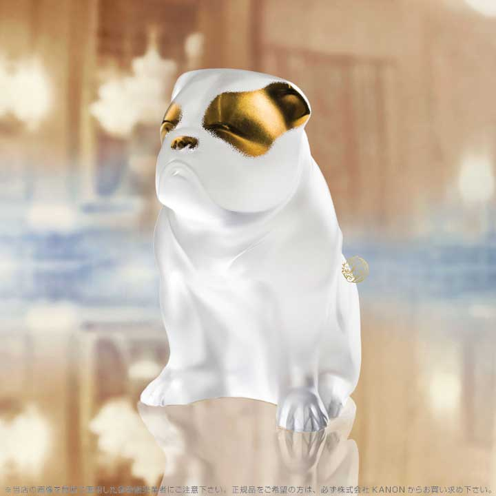 ラリック 犬 ブルドッグ クリア&ゴールドラスター 10601200 Lalique Bulldog Sculpture Clear and Gold Luster