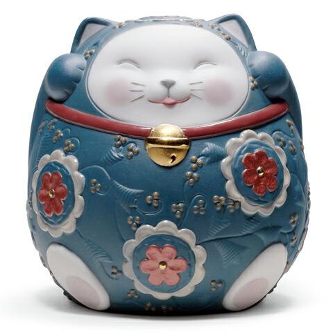 リヤドロ 招き猫 (Blue) 01008529◆お正月飾りやインテリアに