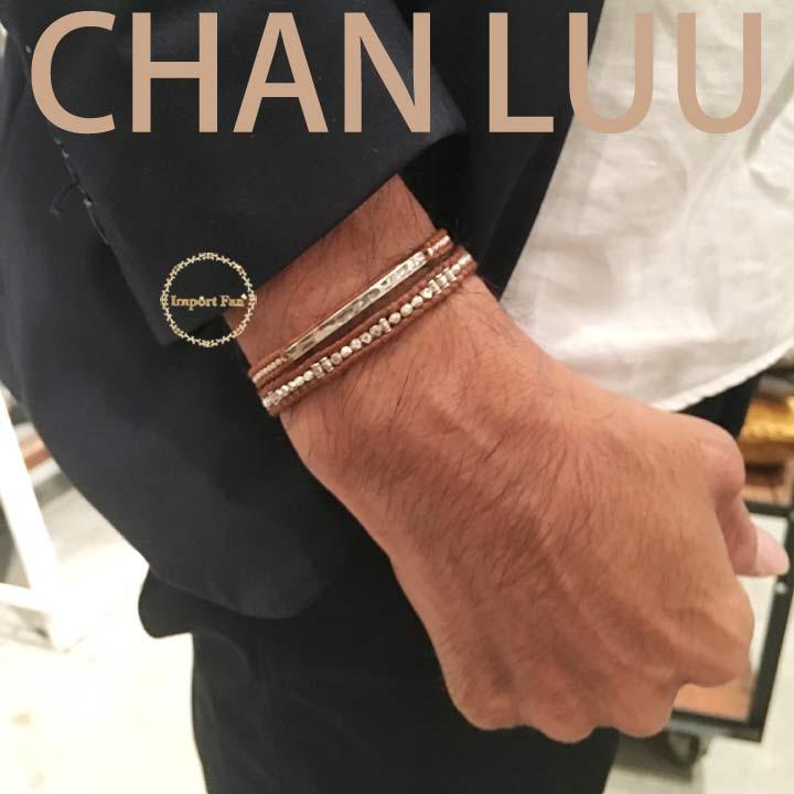 CHAN LUU チャンルー メンズ ビーズ × シルバープレート レザー シングル ブレスレット