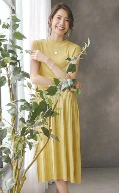 ワンマイルウェア 美シルエット カシュプル プリーツ 半袖 ワンピース Jennifer Pamela ジェニファーパメラ