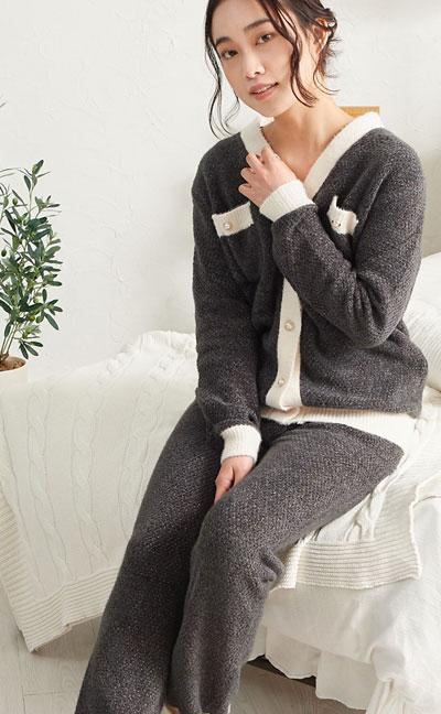 もこもこ ルームウェア パジャマ 上下セット カーディガン 長袖 レディース ジェニファーパメラ ラファム M L ピンク ブラック ホワイト Jennifer Pamela