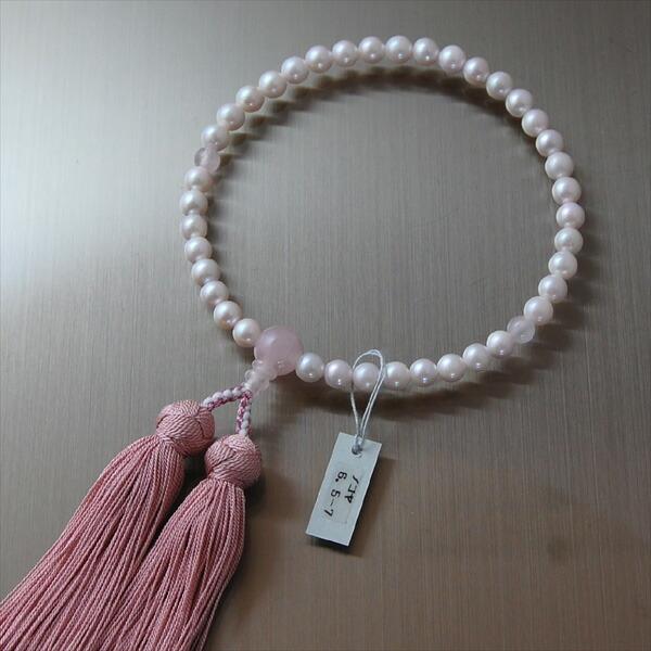 本真珠紅水晶入り 略式数珠 正絹手まり房
