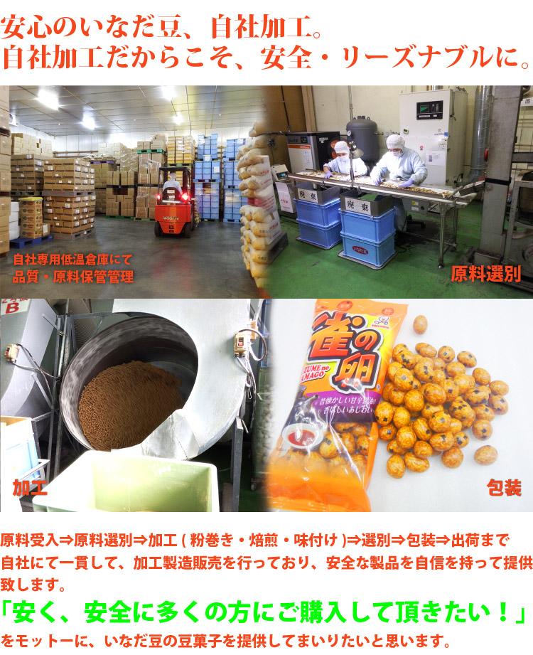 自社加工だからこそ、安全・リーズナブルに。原料受入⇒原料選別⇒加工(粉巻き・焙煎・味付け)⇒選別⇒包装⇒出荷まで自社にて一貫して、加工製造販売を行っており、安全な製品を自信を持って提供致します。「安く、安全に多くの方にご購入して頂きたい!」をモットーに、いなだ豆の豆菓子を提供してまいりたいと思います。