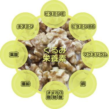 クルミの栄養 ビタミンE・チアミン・ビタミンB6・葉酸・マグネシウム・銅・亜鉛・オメガ3脂肪酸