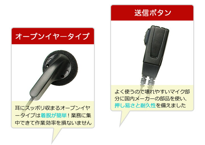 装着しやすいオープンイヤータイプ、押し易いマイクボタンが特徴です
