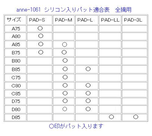 【乳がん】パット適合表