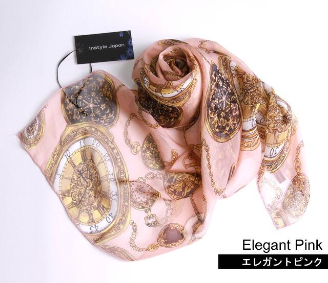 エレガント シルクスカーフ ピンク ホワイト グレー