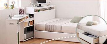デスク本棚チェスト付収納ベッド
