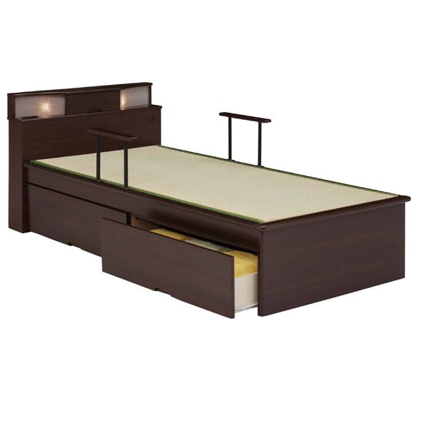 畳ベッド シングル シングルベッド シンプル 畳 引き出し付き 幅96cm コンセント 照明付 国産畳 防虫防ダニ加工 和風 モダン 激安 送料無料<br>  通販【05P19Dec15】