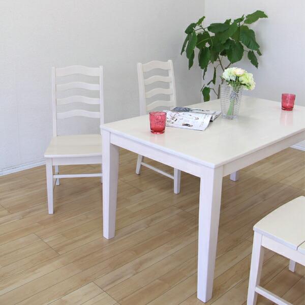 ダイニングテーブルセット ダイニングセット ダイニングテーブル x1 ダイニングチェア x4 4人掛け テーブル幅135cm 5点セット 食卓テーブルセット ホワイト ブラウン カントリー シンプル モダン 木製 ラバーウッド 無垢 無垢材 インテリアSALE 送料無料 楽天 通販