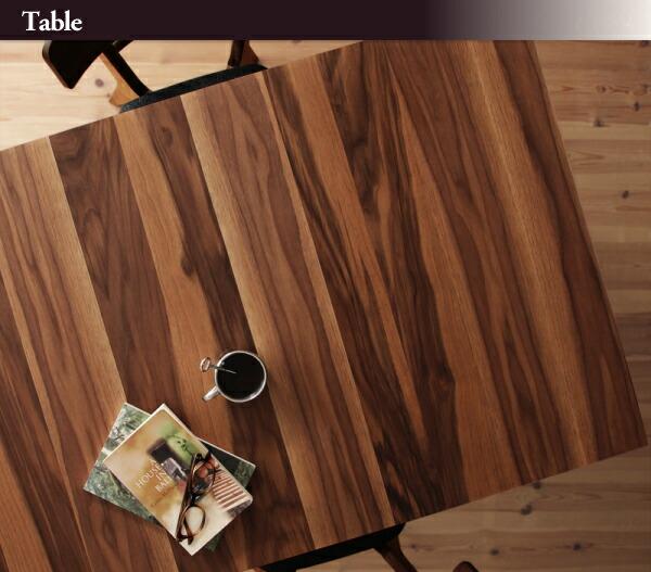 テーブル天板はおしゃれな木目柄 ウォールナットのよさが全面にでています