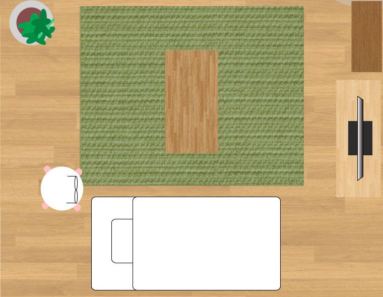190×240cmのラグ6畳の時のイメージ