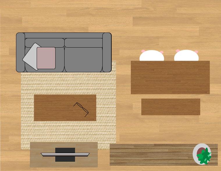 190×240cmのラグ12畳の時のイメージ