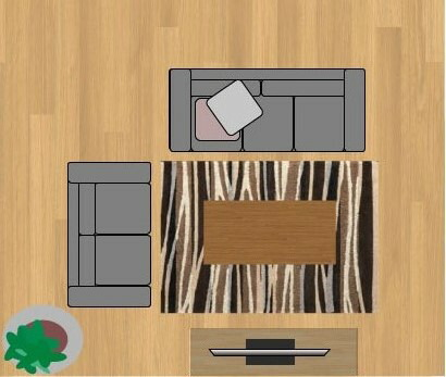東リラグ・TOR3605/140×200cmの12畳に敷いたサイズイメージ
