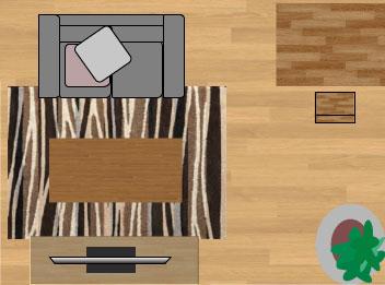 東リラグ・TOR3605/140×200cmの6畳に敷いたサイズイメージ