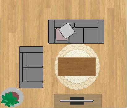 東リラグ・TOR3616/円形150×150cmの12畳に敷いたサイズイメージ