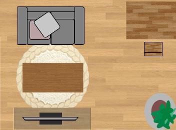 東リラグ・TOR3616/円形150×150cmの6畳に敷いたサイズイメージ