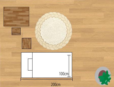 東リラグ・TOR3616/円形150×150cmベットサイドに敷いたサイズイメージ