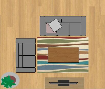 東リラグ・TOR3651/140×200cmの12畳に敷いたサイズイメージ