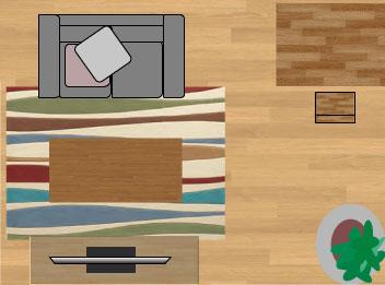 東リラグ・TOR3651/縦長140×200cmの6畳に敷いたサイズイメージ
