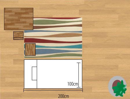 東リラグ・TOR3651/縦長140×200cmベットサイドに敷いたサイズイメージ