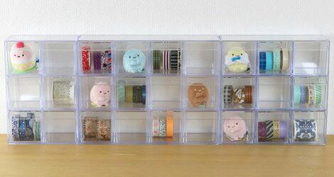小物入れ 引き出し ミニ プラスチック クリア 卓上 透明 収納 3段×3列 デスコシリーズ