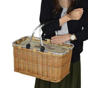 ピクニックバスケット 保冷かごバッグ 煮柳バスケット ふた・ハンドル付き