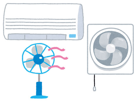 換気扇やエアコンのドライ機能を使って換気をする