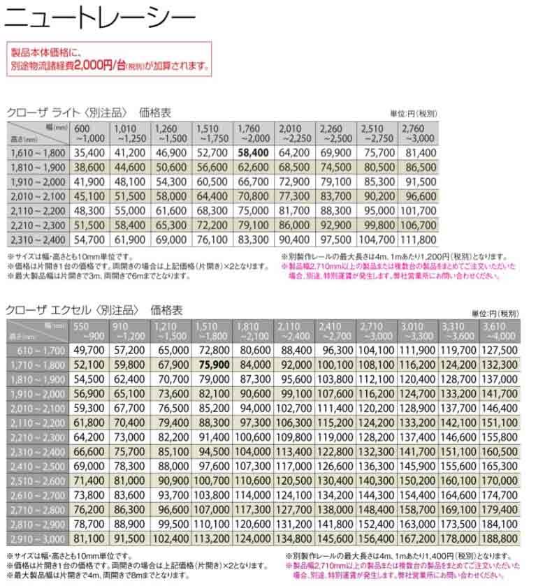 トーソー アコーデオンドアカタログ 価格表