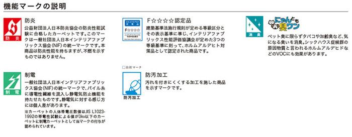 川島織物セルコン 川島セルコン フィーロラグ ラグジュアリーラグ 機能マーク説明