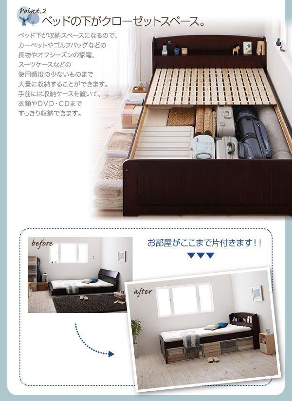 ベッド下のスペースを収納に活用