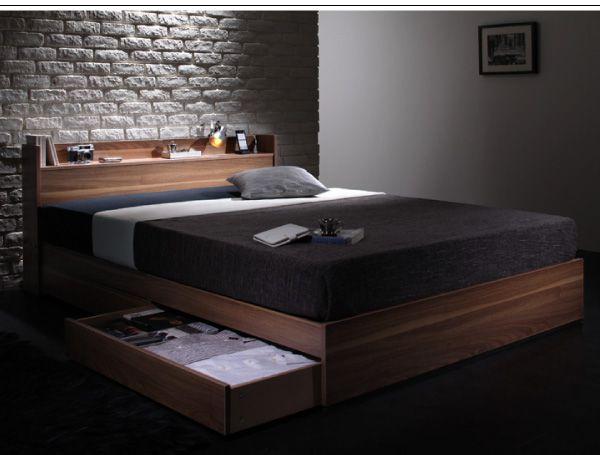 人気のシンプルデザインに北欧テイストのウォールナットブラウンが融合、コンセント付き収納ベッド、エスペリオ