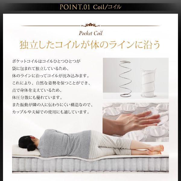 ポケットコイルマットレスは体のラインに沿って沈むことで、快適な寝姿勢をキープします