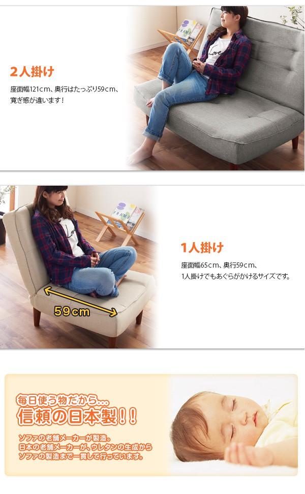 ハイバックコイルソファ リネット サイズと日本製