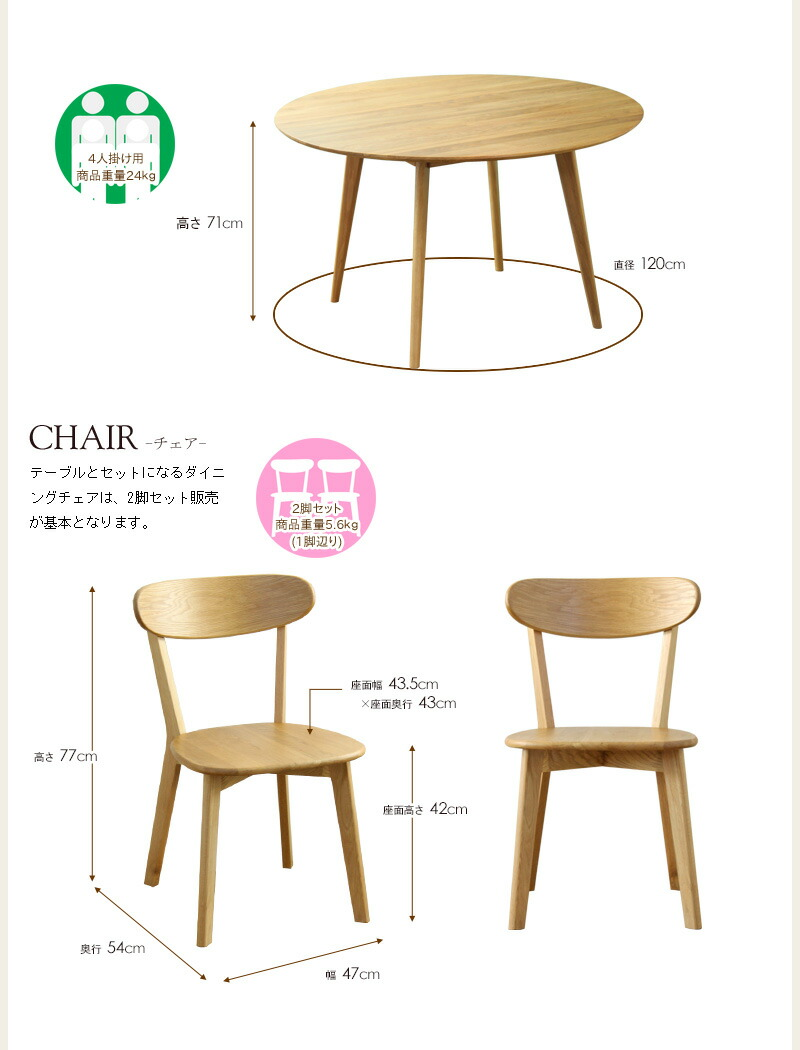 テーブル、チェアサイズ