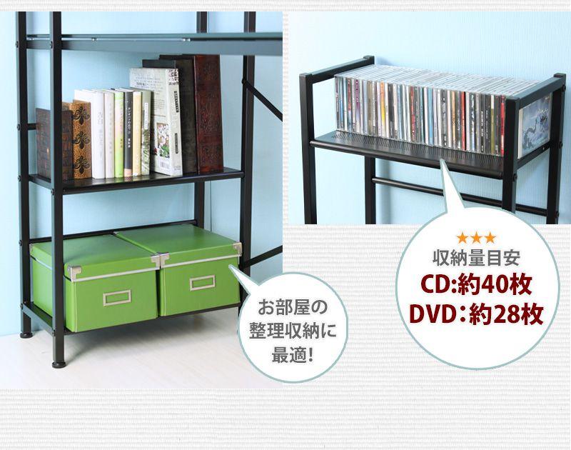 CD約40枚、DVD約28枚収納可、お部屋の整理に最適