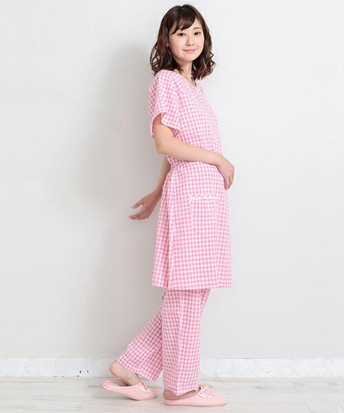 ピンク 産前産後兼用 半袖 コットン サッカー生地 マタニティパジャマ