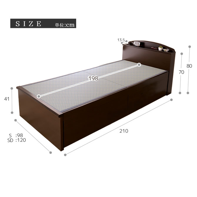 棚コンセント付畳ベッドシングル SEKISUI「美草」ブラック