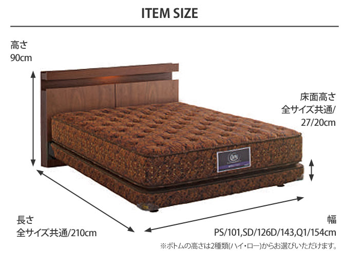 ホテルスタイル594 セミフレックスボトム サイズ画像