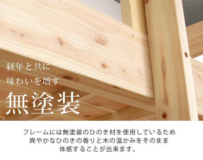 2段ベッド無塗装ひのき材説明画像