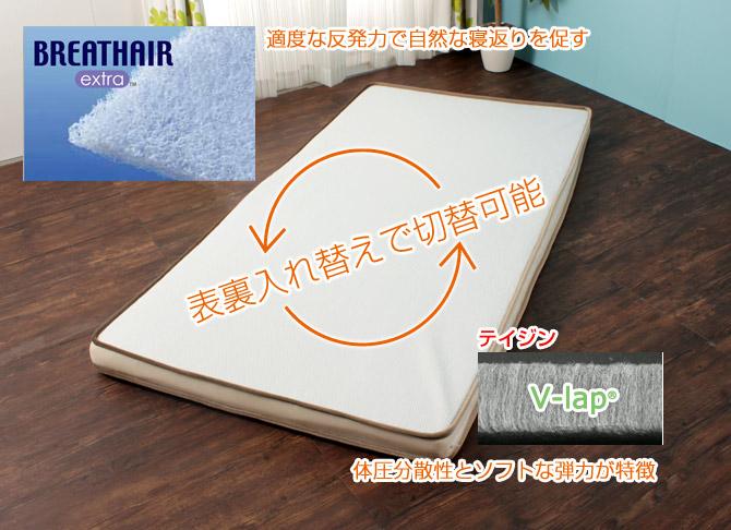 敷き布団 ホット&クール シングル 中材は「ブレスエアーエクストラ(R)」とソフトな弾力の「V-lap(R)」の使い分け可能