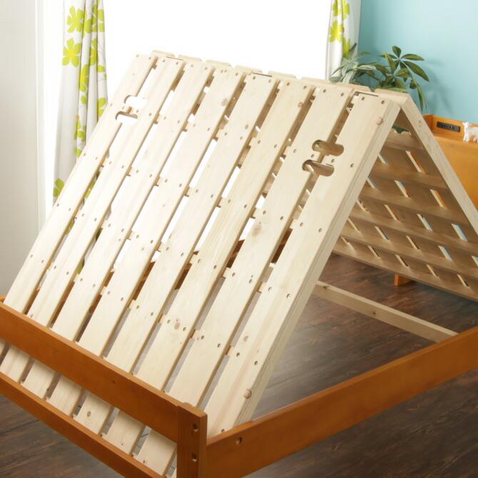 棚・コンセント2口 すのこベッド セミダブル すのこを山型にすれば通気性がよくなり布団を干すことが出来ます。