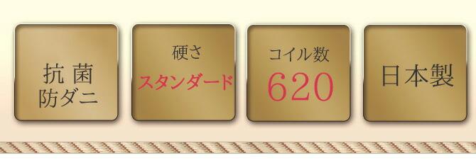 消臭抗菌防ダニ/硬さ:スタンダード/コイル数:620/日本製