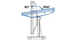 チルト角が前に約5°〜後ろに約88°の範囲で調整が可能!
