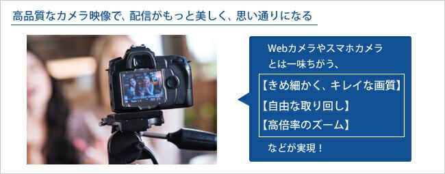 一眼レフカメラやビデオカメラを使って、高品質な映像でのライブ配信を実現