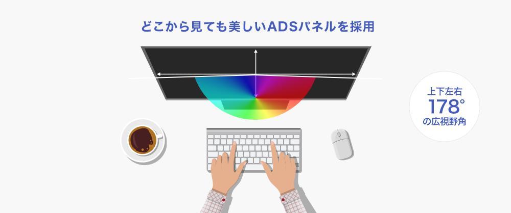 どこから見ても鮮やか!広視野角ADSパネル採用