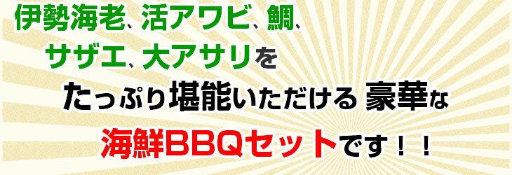 伊勢海老、活アワビ、鯛、サザエ、大アサリをたっぷり堪能いただける豪華な海鮮BBQセットです!!