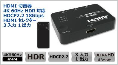 3入力1出力HDMI切替器