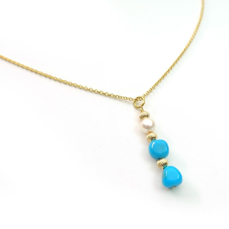 アリゾナターコイズと本真珠のネックレス